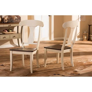 Baxton Studio Napoleon Shabby Chic Country Cottage Antique Oak Wood and Distressed White Dining Side Chair (Set of 2)