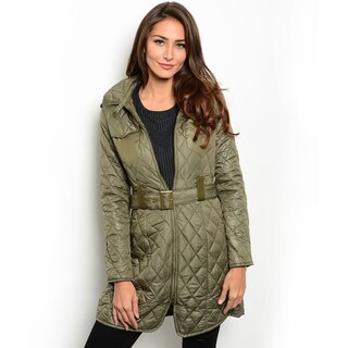 Shop the Trends Women's Long Sleeve Hooded Quilted Down Jacket