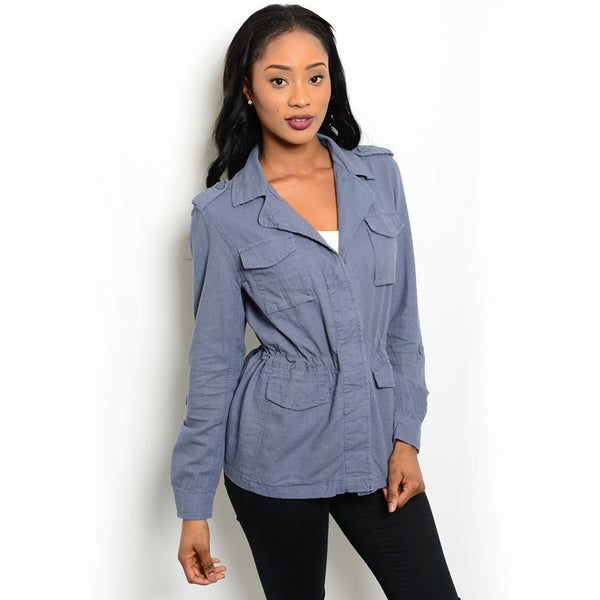 Shop the Trends Women's Long Sleeve Lightwieght Utility Jacket