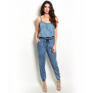 Shop the Trends Women's Spaghetti Strap Chambray Denim Jumpsuit