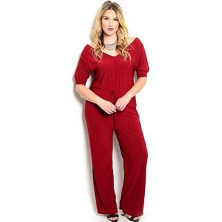 Shop the Trends Women's Plus Size Short Sleeve Wide-Legged Jumpsuit