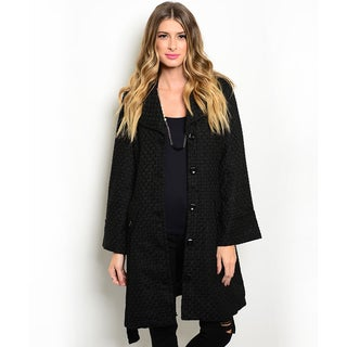 Shop the Trends Women's Long Sleeve Textured Coat