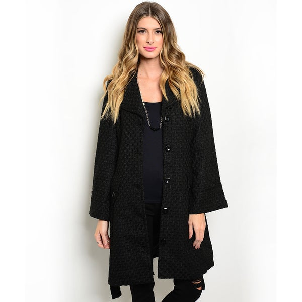 Shop the Trends Women's Long Sleeve Textured Coat (As Is Item)
