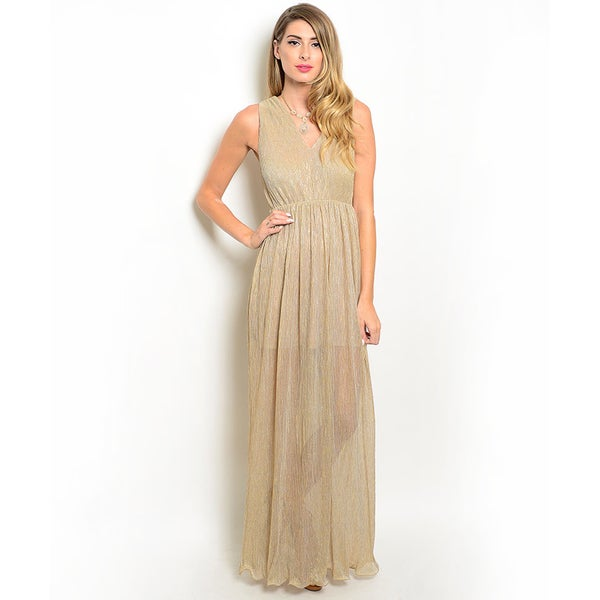 Shop the Trends Women's Sleeveless V-Neck Empire Waist Maxi Dress (As Is Item)