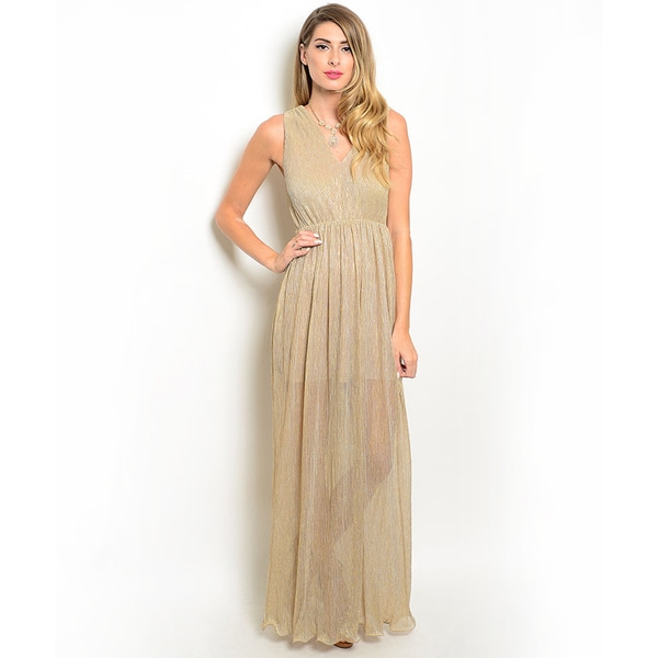 Shop the Trends Women's Sleeveless V-Neck Empire Waist Maxi Dress