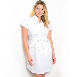 Shop the Trends Women's Plus Size Short Puff Sleeve Woven Dress