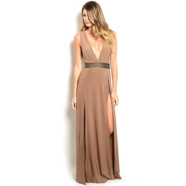 Shop the Trends Women's Sleeveless Double Slit Gown