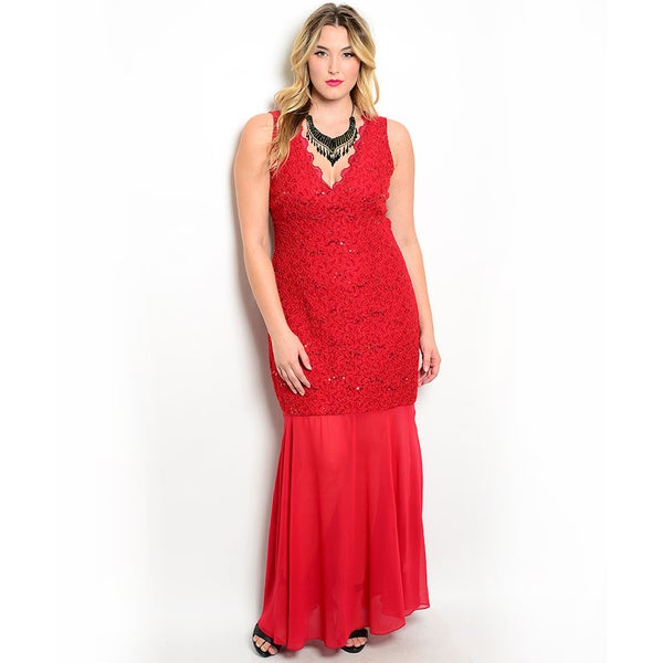 Shop the Trends Women's Plus Size Sleeveless Sheer Lace Gown