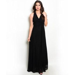 Shop the Trends Women's Sleeveless Halter Neck Gown