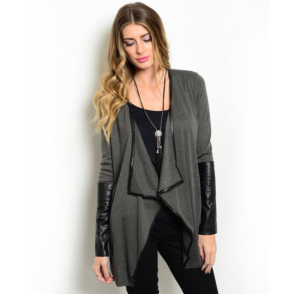 Shop the Trends Women's Long-Sleeve Faux Leather Trim Cardigan