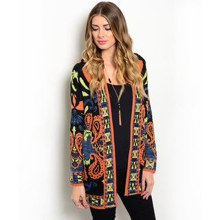 Shop the Trends Women's Long-Sleeve Bold Print Knit Cardigan