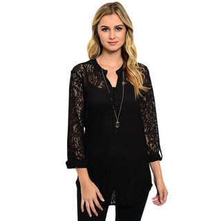 Shop the Trends Women's 3/4-Length Sleeve Lace Top