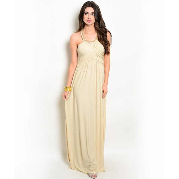 Shop the Trends Women's Sleeveless Embellished Straps Empire Waist Gown