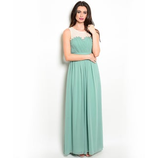 Shop the Trends Women's Sleeveless Empire Waist Sheer Illusion Gown