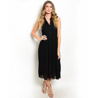 Shop the Trends Women's Sleeveless A-Line Woven Maxi Dress