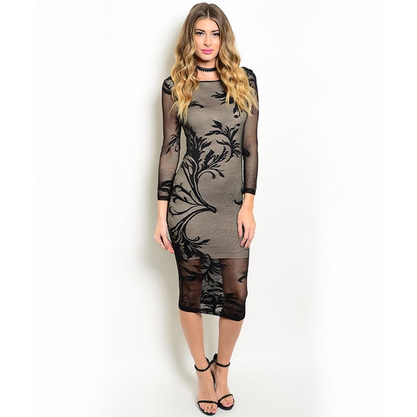 Shop the Trends Women's 3/4-Length Sleeve Sheer Pencil Midi Dress
