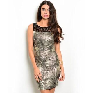 Shop the Trends Women's Sleeveless Metallic Short Dress