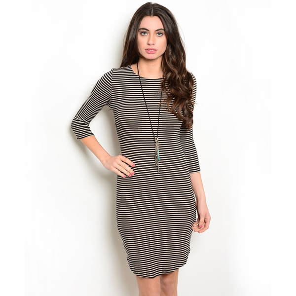 Shop the Trends Women's 3/4-Length Sleeve Striped Bodycon Dress