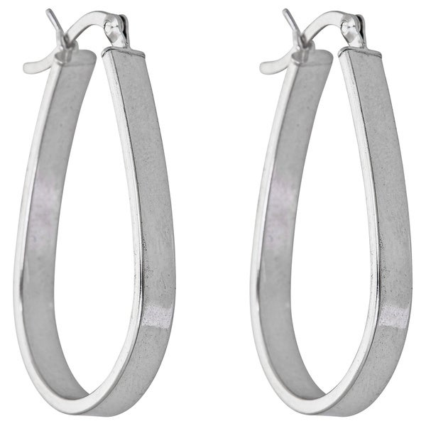Sterling Silver Wide Hoop Earrings
