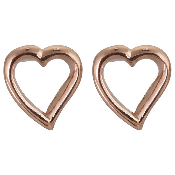 Rose Goldtone Sterling Silver Cut-out Heart Stud Earrings