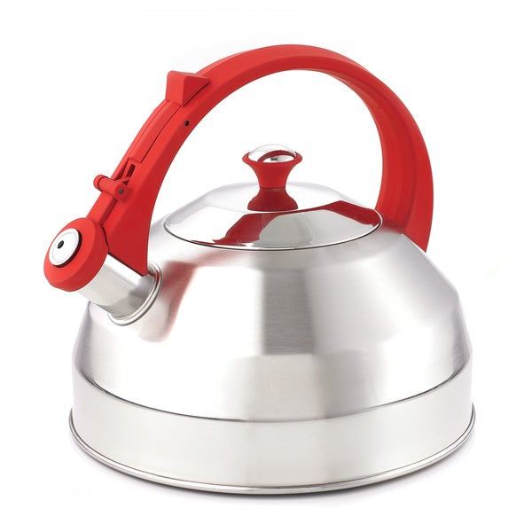 Creative Home Steppes 2.8 Qt Whistling Stainless Steel Tea Kettle - Red Handle/Red Knob