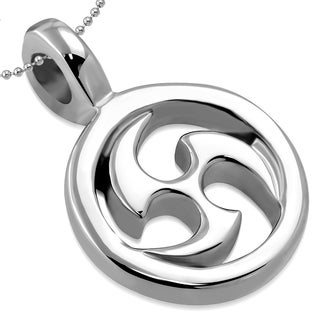 Ninja Star Energy Symbol Stainless Steel Pendant Necklace on 23.5 Inch Chain