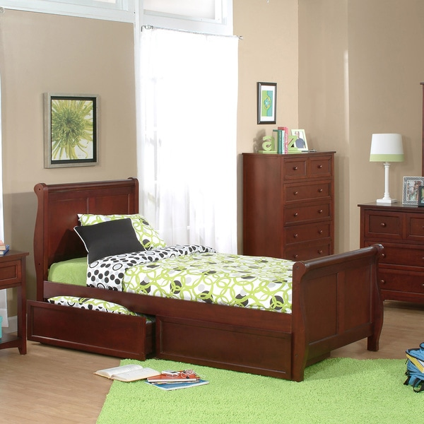 School House Twin Sleigh Bed Cherry
