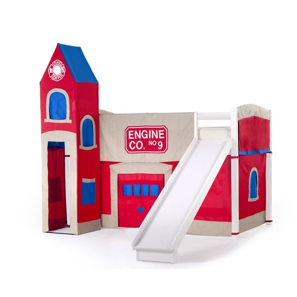 School House White Junior Loft White w/ Slide & Firehouse Tent