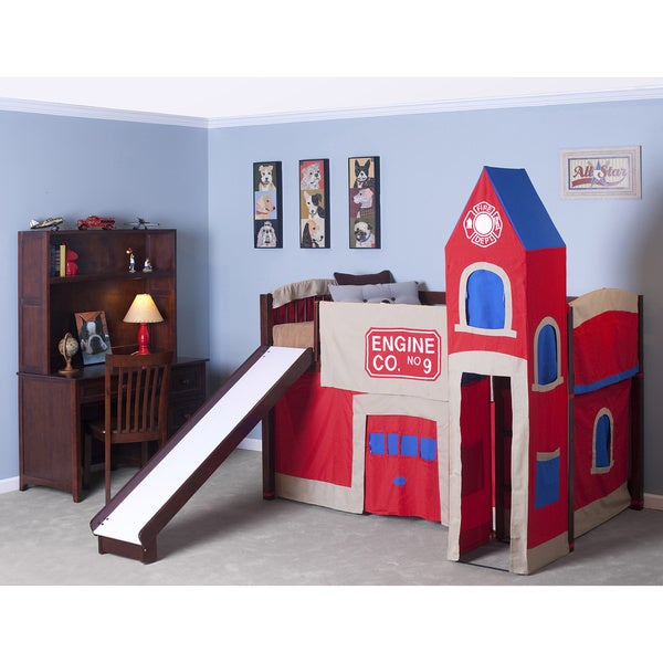 School House Cherry Junior Loft Cherry w/ Slide & Firehouse Tent