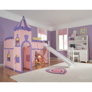 School House White Junior Loft w/ Slide & Princess Tent