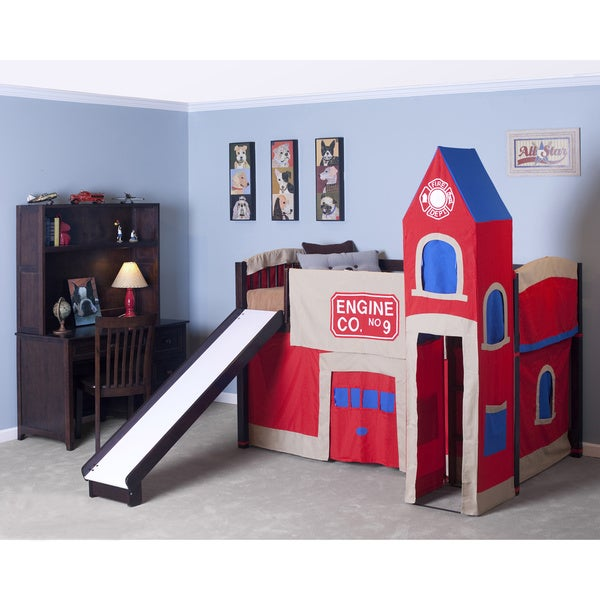 School House Chocolate Junior Loft w/ Slide & Firehouse Tent