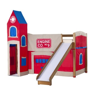 School House Junior Loft Pecan w/ Slide and Firehouse Tent