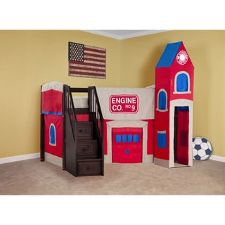 School House Chocolate Junior Loft with Stairs and Firehouse Tent
