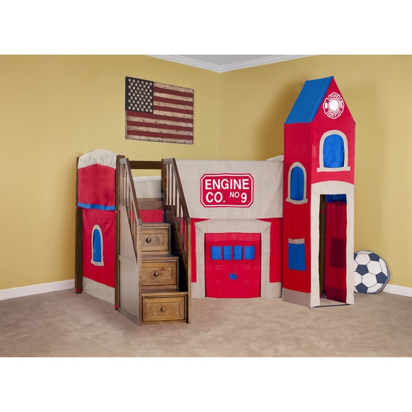 School House Junior Loft Pecan w/ Stairs & Firehouse Tent