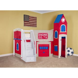 School House Junior Loft White with Stairs and Firehouse Tent