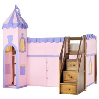 School House Junior Loft Pecan with Stairs & Princess Tent