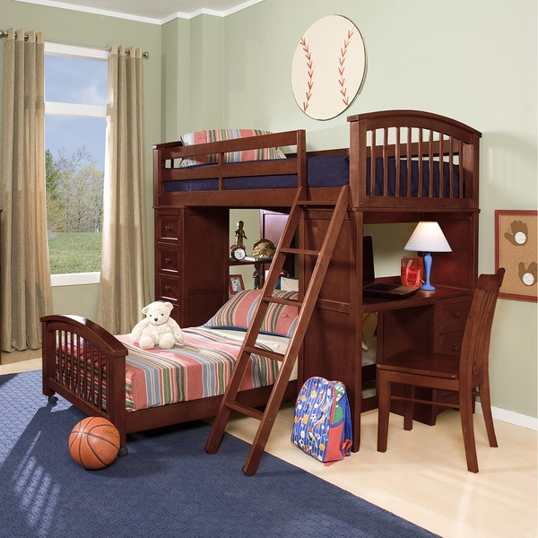 School House Cherry Finish Student Loft w/ Twin Lower Bed