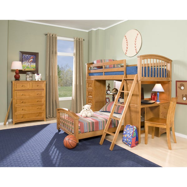NE Kids School House Pecan Student Loft w/ Twin Lower Bed