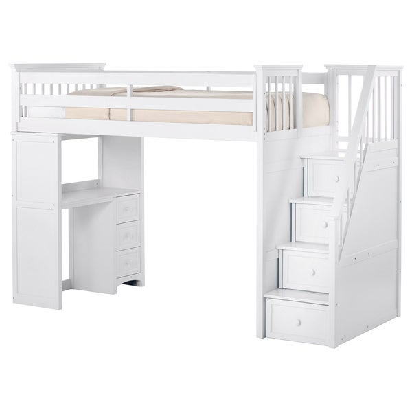 Ne Kids School House Stair Loft With Desk End And Full