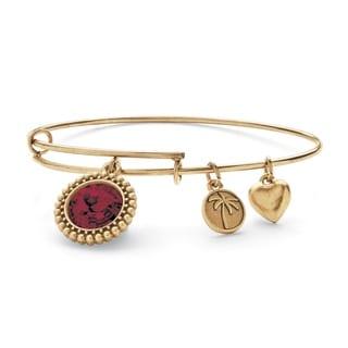 PalmBeach Antique Goldtone Birthstone Charm and Swarovski Crystal Bangle Bracelet Color Fun