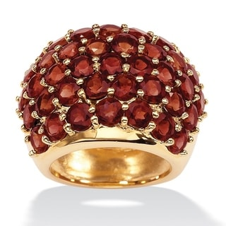 Yellow Gold-Plated Genuine Red Garnet Cluster Dome Ring