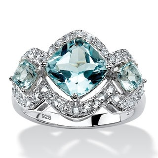 PalmBeach Platinum over Sterling Silver 4 2/5ct Blue and White Topaz Ring