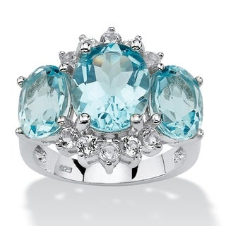 PalmBeach Platinum over Sterling Silver 10 1/4ct Oval-cut Blue and White Topaz Ring
