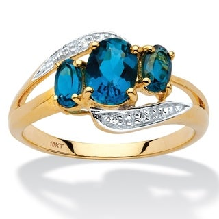 PalmBeach 10k Yellow Gold 1 5/8ct London Blue Topaz and Diamond Accent Bypass Ring