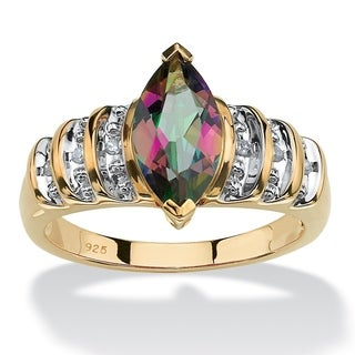 PalmBeach 18k Yellow Gold over Sterling Silver 2ct Marquise-cut Fire Topaz Step-Top Ring