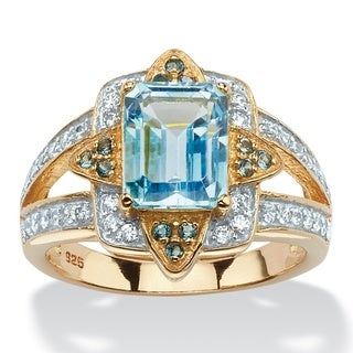 PalmBeach 14k Yellow Gold over Sterling Silver 3 7/8ct Blue Topaz Floral Motif Cocktail Ring
