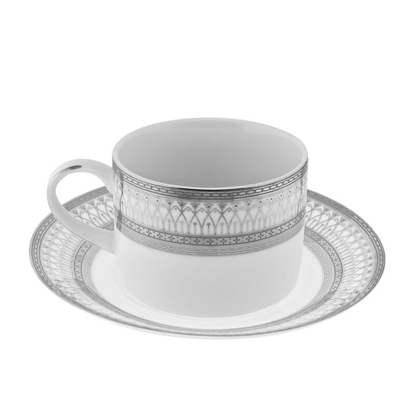 10 Strawberry Street Iriana Silver Can Cup/Saucer Set of 6 16456279