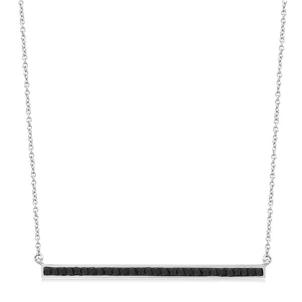 Rhodium-plated Jet Black Crystal Bar Necklace