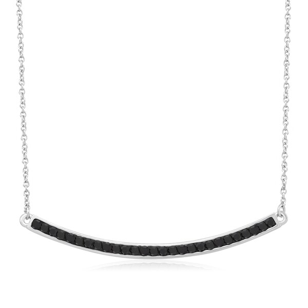 Rhodium-plated Jet Black Crystal Curved Bar Necklace