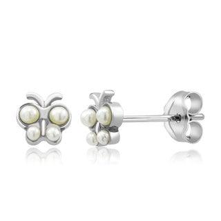 Sterling Silver Baby Butterfly Freshwater Pearls Kid's Earrings